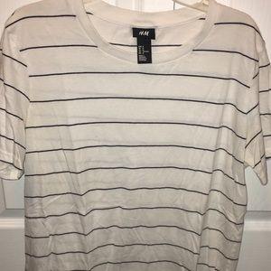 H&M white/black striped T-shirt men's medium tee